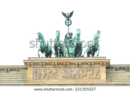 Architectural detail of the Brandenburger Tor in Berlin, Germany isolated against white  - stock photo
