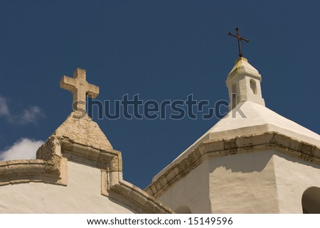Architectural Detail of Two Crosses topping the Mission nuestra senora del espiritu santo de zuniga in goliad - stock photo