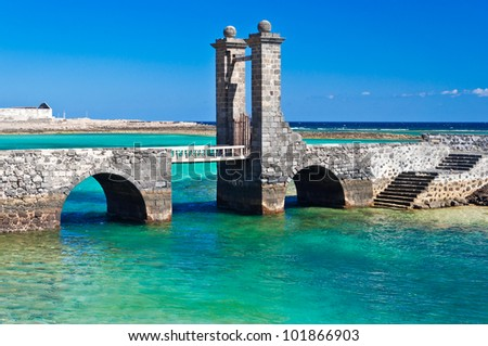 Architectural detailes in Arrecife, Lanzarote. - stock photo
