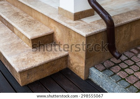 architectural details and finishes expensive private house - stock photo