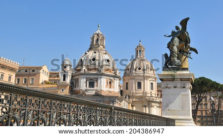 Architectural details in Piazza Venezia, Rome (Italy) - stock photo