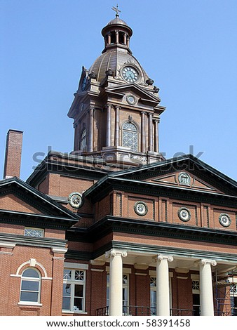 Architectural details of an old county courthouse. - stock photo