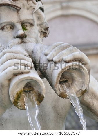 Architectural details of Fontana del Moro or Moro Fountain. Rome. Italy. More of this motif and more Rome and architecture in my port. - stock photo