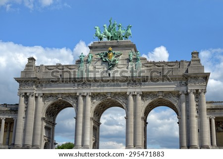 Architectural details of historical Triumphal Arch in Cinquantenaire Parc in Brussels, Belgium - stock photo