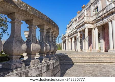Architectural details of the castle Queluz. Sintra, Portugal. - stock photo
