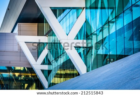 Architectural details of the Convention Center in Baltimore, Maryland. - stock photo