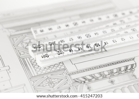 architectural drawing - detail column & folding ruler - stock photo