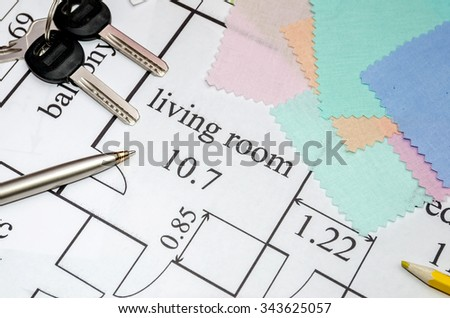 Architectural drawing with color samples, brush, clock, calculator - stock photo