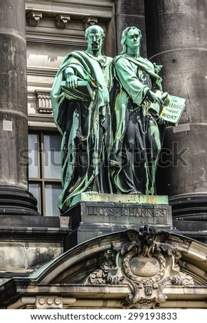 Architectural fragments of Berlin Cathedral (Berliner Dom) - famous landmark on the Museum Island in Mitte district of Berlin. It was built between 1895 and 1905. Germany. - stock photo
