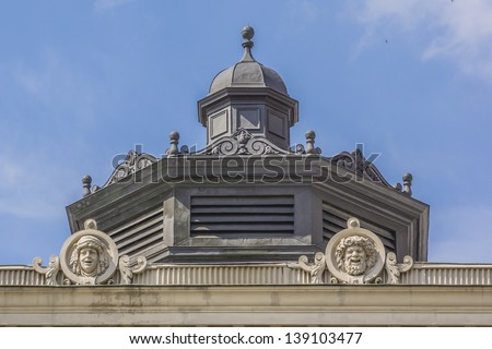 Architectural fragments of Lviv State Academic Opera and Ballet Theatre, view from Liberty Avenue. Theatre was built in classical tradition of Renaissance and Baroque architecture. Ukraine. - stock photo