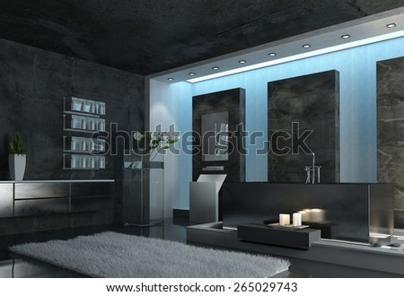 Architectural Interior Design of a Modern Spacious Gray Bathroom with Gray Carpet, Candles and Flowers. 3d Rendering.  - stock photo