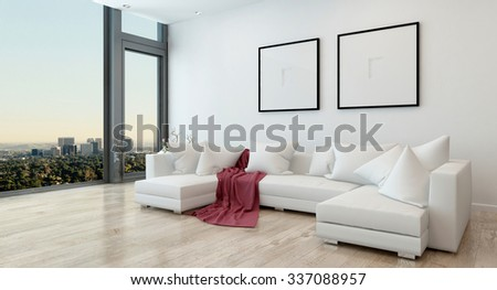 Architectural Interior of Open Concept Apartment in High Rise Condo - Red Throw Blanket on White Sectional Sofa in Open Concept Modern Living Room with Modern Furnishings. 3d Rendering - stock photo