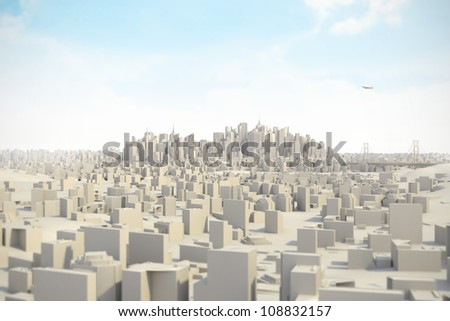 Architectural model miniature Mega City 3D - stock photo