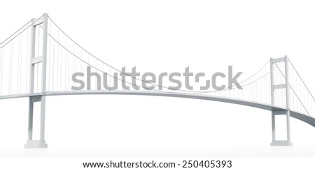 Architectural models of cable-stayed bridge. 3D Rendering - stock photo
