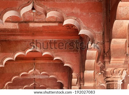 Architectural of Lal Qila - Red Fort in Delhi, India, Asia - stock photo