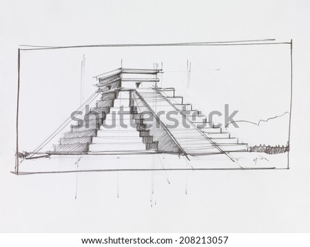 architectural perspective of Mayan pyramid of Kukulcan El Castillo in Chichen Itza, Mexico, drawn by hand - stock photo