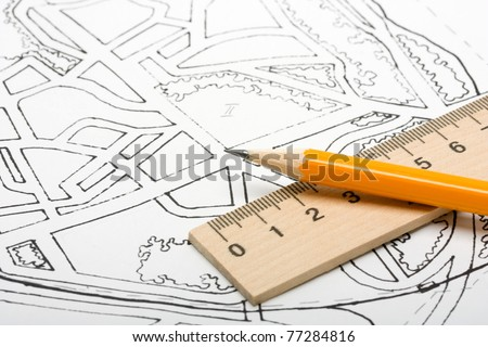Architectural plan and drawing tools. - stock photo