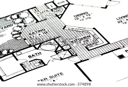 Architectural Plans For a Home. - stock photo