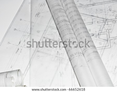 Architectural plans of a building - stock photo