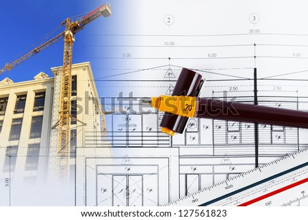 Architectural project - stock photo