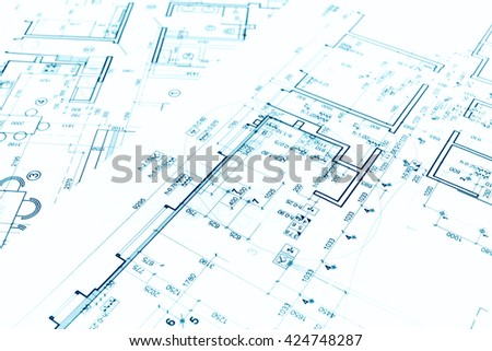 architectural project, floor plan blueprints, construction plans, architectural background - stock photo