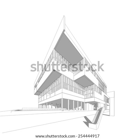 Architectural sketch. - stock photo