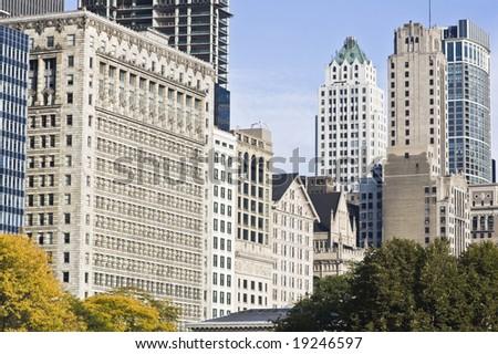 Architecture along Michigan Avenue in Chicago - stock photo