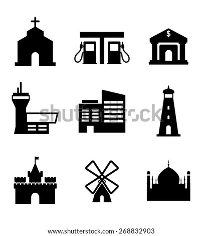 Architecture and buildings icons including a church, garage, bank, airport, commercial, lighthouse, castle, windmill and landmarks - stock photo