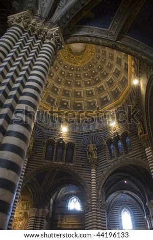 Architecture and marble inside the Duomo in Siena Cathedral, Siena, Tuscany, Italy. - stock photo
