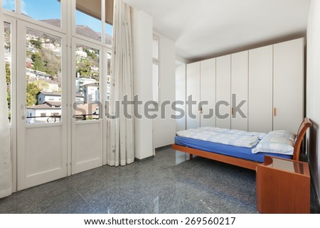 Architecture, apartment furnished, bedroom view - stock photo