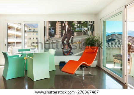 Architecture, beautiful apartment furnished, comfortable dining room - stock photo