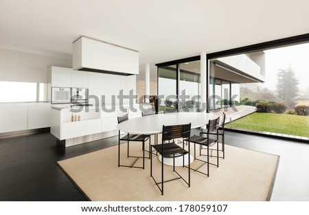 Architecture, beautiful interior of a modern villa, domestic kitchen - stock photo