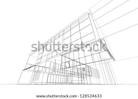 Architecture blueprint on white background - stock photo