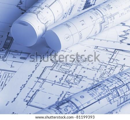Architecture blueprints - stock photo