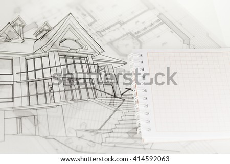 architecture blueprints, house drawing & notepad - stock photo