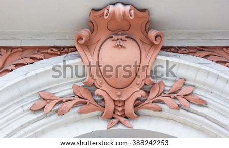 architecture building element stucco coat of arms - stock photo