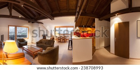 Architecture, comfortable chalet, wide living room - stock photo