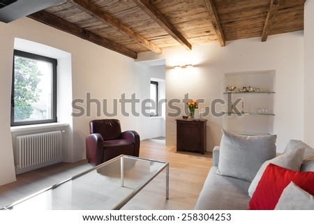 Architecture, comfortable loft furnished, living room - stock photo