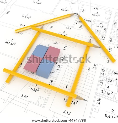 architecture concept with pencils and eraser - stock photo