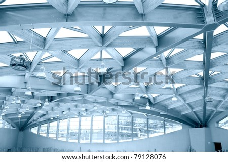 Architecture conceptual image. Modern roof construction in blue colors. - stock photo