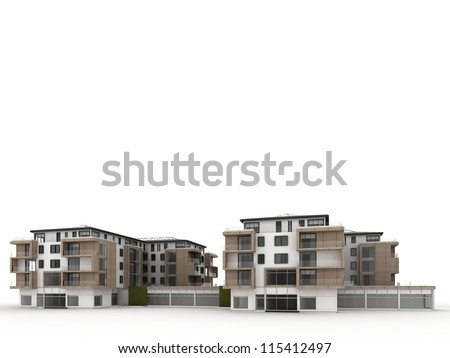 architecture design and visualization of apartment building - stock photo