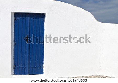 Architecture detail from a Greek house at Santorini island in Greece - stock photo