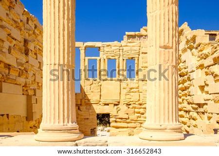 Architecture detail of Erechteion temple in Acropolis, Athens, Greece - stock photo
