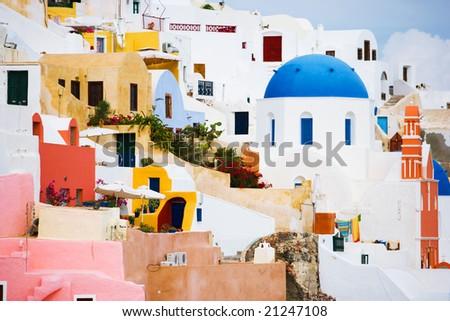 architecture details in Oia, Santorini, Greece - stock photo