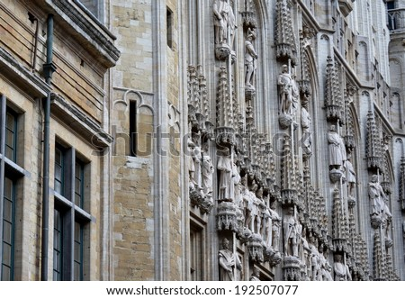 Architecture Details in the Grand Place, Brussels - stock photo