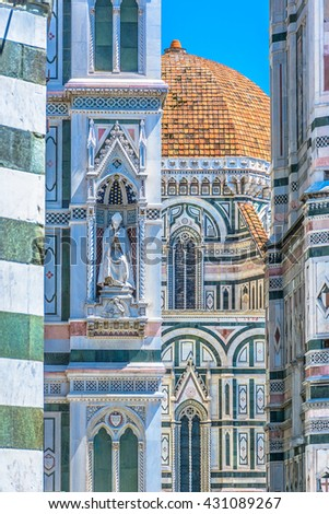 Architecture details of famous duomo cathedral in Florence Italy. / Architecture duomo Florence Italy. / Selective focus. - stock photo