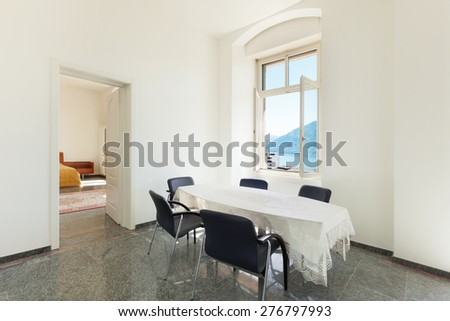 Architecture, dining room of a classic apartment - stock photo