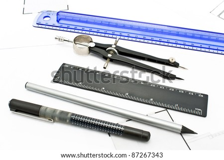 Architecture - drawing tools on white - stock photo