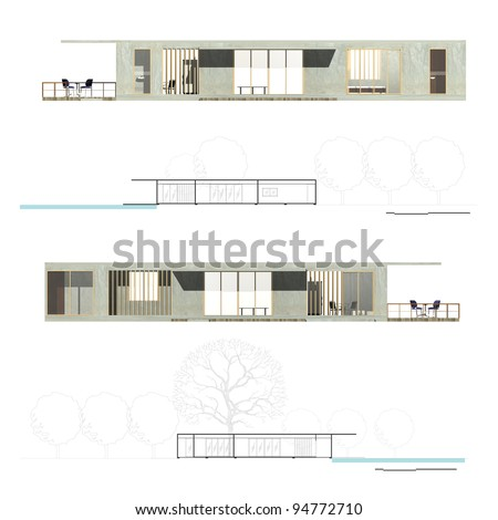 Architecture Elevation and Section of Housing. - stock photo