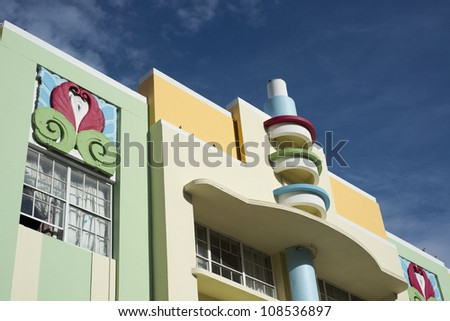 Architecture in South Beach, Miami with Blue Sky. - stock photo